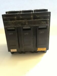 General Electric Thql32100 3 Pole 100 Amp 240vac Circuit Breaker Nos