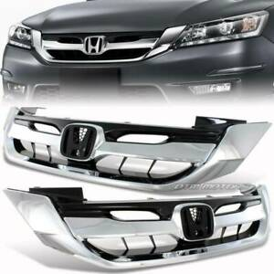 Jdm Chrome Abs Front Hood Grill Grille For 2013 2015 Honda Accord Sedan 4dr