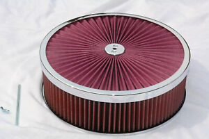 14 X 4 Round Chrome Red Washable Air Cleaner Flow Thru Filter Top Recessed Base