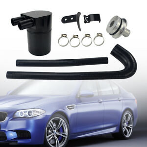Billet Cnc Aluminum Baffled Oil Catch Can Tank Set For Bmw N54 335i 535i Black