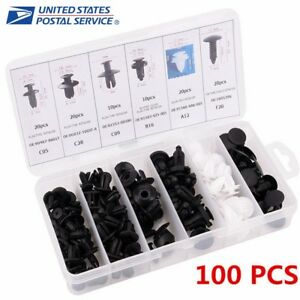 100pcs Car Automotive Push Pin Rivet Trim Clip Panel Body Interior Assortment Us