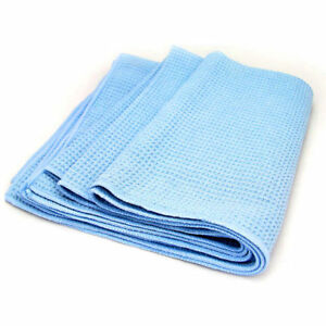 Large Blue 25 x36 Waffle Weave Thirsty Microfiber Deluxe Drying Towel Auto Home
