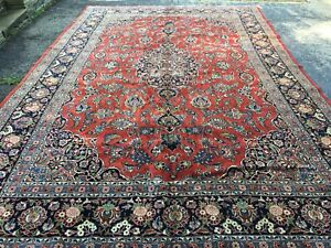 Antique Oriental Kashan Rug Great Condition Wool Hand Knotted 10 7 X 16 4