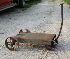 Antique Industrial Factory Pull Cart Iron Cast Steel Coffee Table See Pics