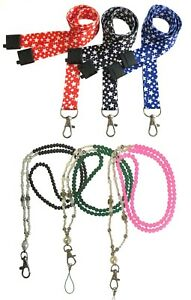 Pearl Beaded Id Necklace Lanyard Or Printed Star Lanyards Id Badge Holder