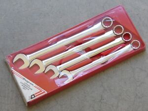Vintage Rare Snap on Oex704 4 Pc Sae Chrome Long Handle 12 Point Wrench Set