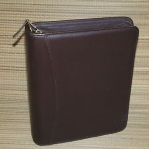 Franklin Covey Brown Nappa Leather Planner Binder Classic Size 1 5 Rings Zipper