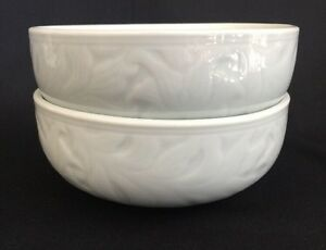 Vintage Korean Celadon Leaf Floral Pattern Pale Green 2 Side Dish Sauce Bowls