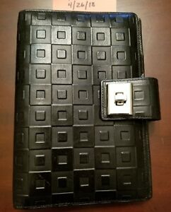 Black Success Brand Leather Ring Binder Planner Personal compact Size Euc