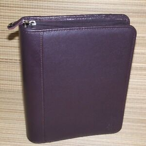 Franklin Covey Burgundy Cowhide Leather Classic Planner Binder 1 5 Rings Zipper