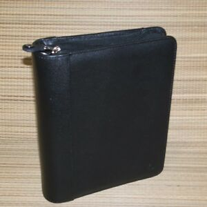 Franklin Covey Black Cowhide Leather Classic Planner Binder 1 5 Rings Zipper
