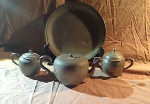 Antique Chinese Pewter Tea Set With Dragons Victorian Teyhee Swatow Marked
