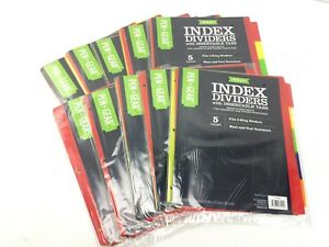 10 Packs Of 5ct Poly Index Deviders Fits 3 Ring Binder Insertable Tab