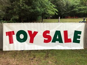 Toy Sale Vinyl Advertising Banner Sign Large Outdoor Folded Stitched 12 X 4