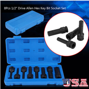 1 2 Drive Impact Socket Hex Bits 8pc Sae Set Standard Long Air Allen Driver