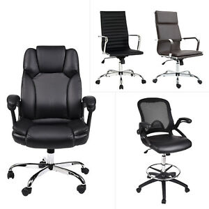 High Back Office Desk Chair Swivel Ergonomic Leather Computer Reception Seat