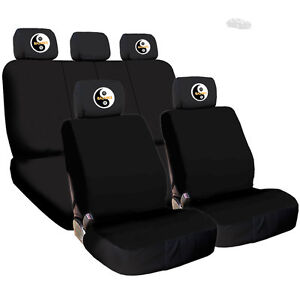 For Bmw New Black Flat Fabric Car Seat Covers With Tai Chi Headrest Cover