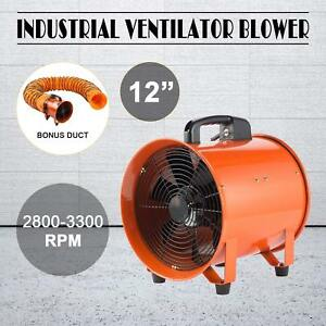 12 Extractor Fan Blower Portable 5m Duct Hose W Handle Utility Industrial
