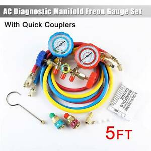 4 Way Ac Manifold Gauge Set R410a R404a R22 W hoses Hi Low Coupler Adapters