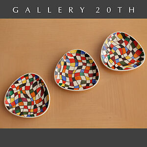 Fab Mid Century Modern Abstract Painted European Dishes Vtg Porcelain Art 50 S