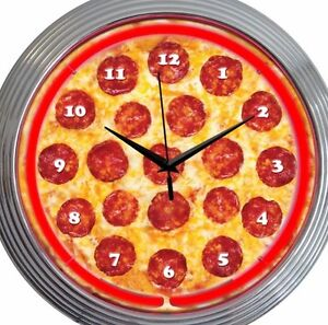 Pizza Neon Clock 15 Inch Diameter Cheese Pepperoni Game Room Restaurant