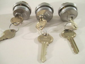 Lot Of 3 New Russwin Mortise Cylinders W Keys And Trim Rings Satin Chrome
