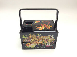 Japanese Vintage Lacquer Cosmetic Box With Mirror Portable Makeup Box