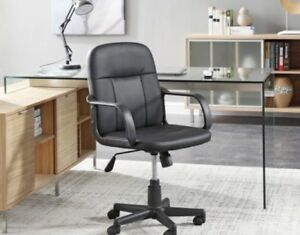 Adjustable Height Computer Ergonomic Swivel Office Chair Pu Leather Black