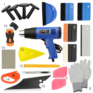 Window Tint 21 Pcs Wrapping Vinyl Tools Squeegee Scraper Applicator Heat Gun Kit