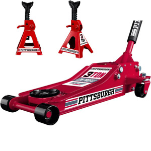 3 Ton Low Profile Floor Jack And Jack Stands Set Steel Hydraulic Jack New