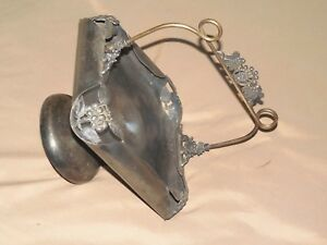 Antique Victorian Dark Silver Like Metal Brides Basket Type With Handle