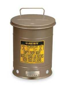 Oily Waste Can 6 Gal steel silver Justrite 09104