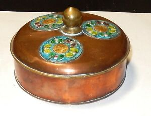 Chinese Copper Cloisonne Repousse Enamel Humidor Box