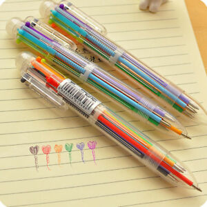 Multi color 6 In 1 Color Ballpoint Pen Ball Point Pens Kids School Office Supply