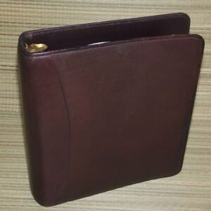 Franklin Covey Brown Aniline Leather Classic Planner Binder Open 1 5 Rings