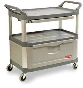 Enclosed Service Cart gray 3 Shelf Rubbermaid Fg409400gray