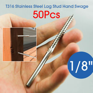 Us 50pcs T316 Stainless Steel Lag Stud Hand Swage Railing Fit For 1 8 Cable