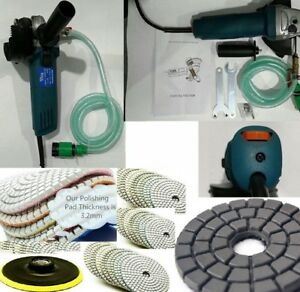Wet Polisher Grinder 4 Concrete Marble Stone Wet Polishing Kit W 7 Diamond Pad