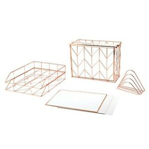 U Brands Desktop Filing Set Rose Gold 10 Piece