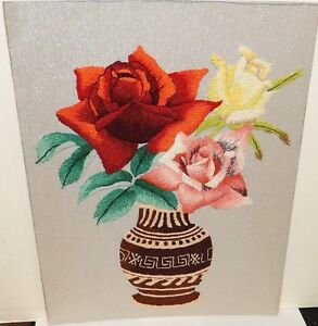 Japanese Floral Vase Embroidery Tapestry Painting Signed