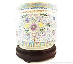 Chinese Famille Rose Porcelain Pot Planter Hardwood Stand Lotus Republic Lotus