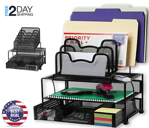Mesh Desk Organizer With Sliding Drawer double Tray 5 Stacking Sorter Sections