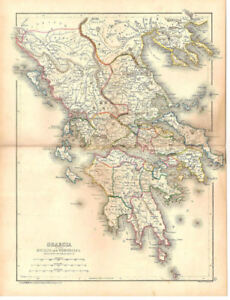 1856 Map Greece Ge Sherman Printed By Henry Seiber