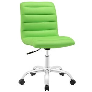 Ripple Armless Mid Back Office Chair In Bright Green