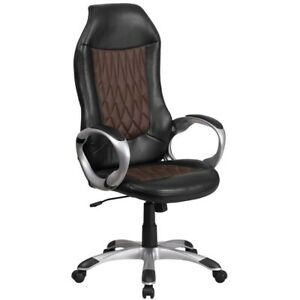 Black And Brown Fabric vinyl Office desk Chair Free Shipping