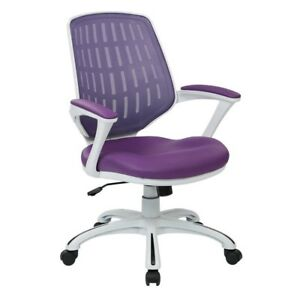Calvin White Frame Office Chair With Purple Mesh Fabric And Arms