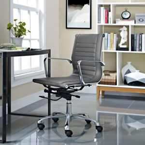 Runway Mid Back Fabric Office Chair In Gray