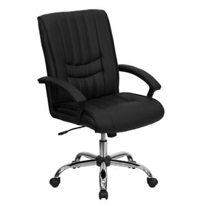 Mid back Black Leather Swivel Manager s Chair