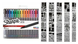 Template Journal Stencils With Art Pen Fine Point Assorted Colors Draw Paint Diy