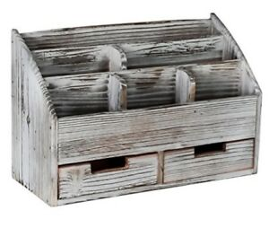 Distressed Torched Wood Desk Organizer Vintage Rustic Superbpag Office Supplies